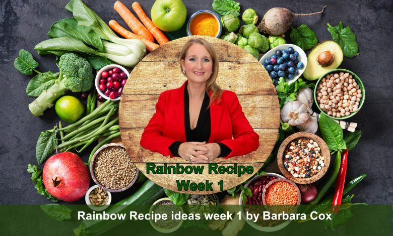 Barbara Cox, breakfast, dinner, Cherry & Cranberry Bircher Muesli, Loaded Sweet Potato Skins, lunch, Mediterranean food, Rainbow Diet, Rainbow Recipe, Rainbow Vegetable Salad, Raw Cranberry & Coconut Date Bar, snack